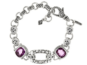 Pink Kunzite Color Quartz Triplet Silver Bracelet 7.14ct