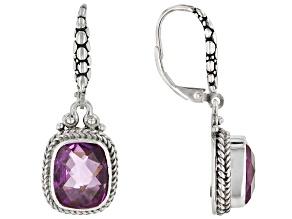 Pink Kunzite Color Quartz Triplet Silver Earrings 7.14ctw