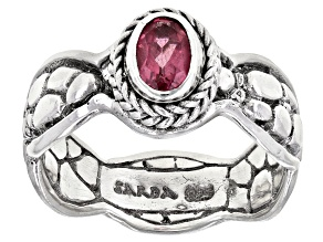 Pink Tourmaline Sterling Silver Solitaire Ring  .37ct
