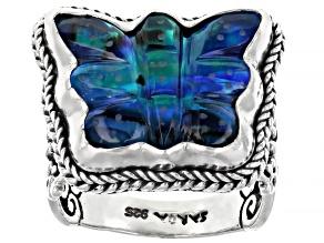 Blue Sapphire Color Quartz Doublet Silver Ring