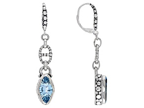 Sky Blue Topaz Sterling Silver Earrings 5.42ctw