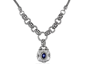 Blue Star Sapphire Sterling Silver Necklace