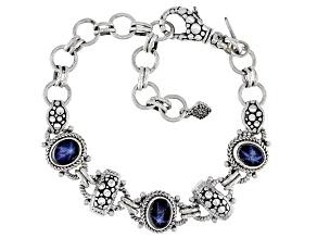 Blue Star Sapphire Sterling Silver Bracelet