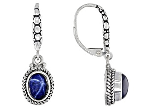 Blue Star Sapphire Sterling Silver Earrings