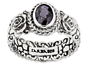 Berry Spinel Sterling Silver Solitaire Ring 0.77ctw