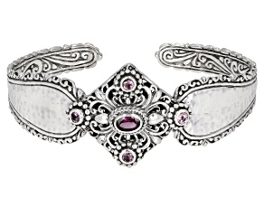 Malaia Garnet Sterling Silver Cuff Bracelet 1.78ctw