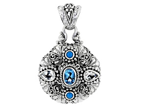 Blue & White Topaz, Sleeping Beauty Turquoise Silver Pendant 1.66ctw