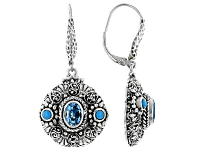 Blue Topaz and Sleeping Beauty Turquoise Sterling Silver Earrings 1.56ctw