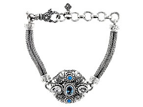 Blue & White Topaz, Sleeping Beauty Turquoise Silver Bracelet 1.66ctw