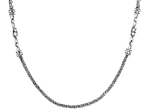 """Sterling Silver 22"""" Bali And Snake Chain Necklace"""
