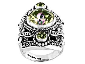 Soloman Sea™ Quartz and Peridot Silver Ring 4.83ctw