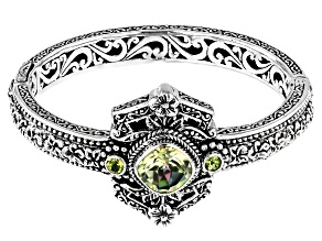 Soloman Sea™ Quartz and Peridot Silver Bracelet 4.83ctw