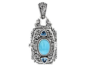 Blue Amazonite and Blue Topaz Silver Pendant 1.54ctw