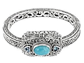 Blue Amazonite and Blue Topaz Silver Bracelet 1.54ctw