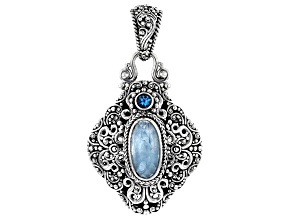 Dreamy Aquamarine and Swiss Blue Topaz Silver Pendant .31ct