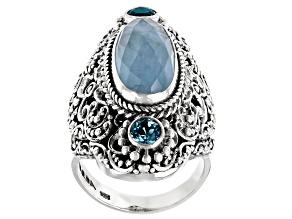Dreamy Aquamarine and Swiss Blue Topaz Silver Ring .62ctw
