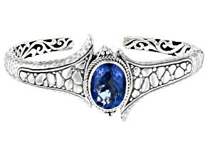 Blue Fluorite Silver Cuff Bracelet 9.01ctw