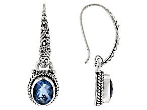 Fluorite Silver Dangle Earrings 3.56ctw