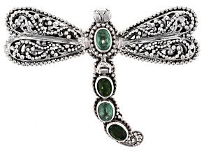 Chrome Diopside And Mint Kyanite Silver Dragonfly Pendant 3.06ctw