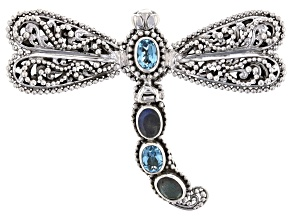 Labradorite And Swiss Blue Topaz Silver Dragonfly Pendant 2.94ctw