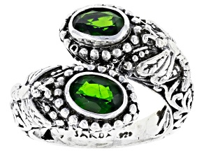 Chrome Diopside Silver Dragonfly Bypass Ring 1.38ctw