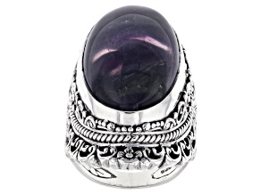 Banded Fluorite Doublet Silver Solitaire Ring