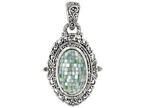 Mosaic Green Mother Of Pearl Silver Pendant