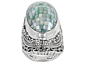 Mosaic Green Mother Of Pearl Silver Solitaire Ring