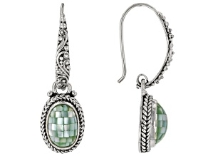 Mosaic Green Mother Of Pearl Silver Dangle Earrings