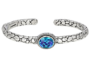 Rainbow Paraiba Color Quartz Triplet Silver Cuff Bracelet