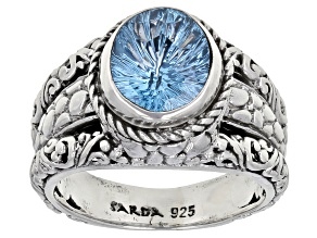 Swiss Blue Topaz Silver Solitaire Ring 2.0ctw