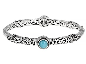 Amazonite Cabochon Silver Bangle Bracelet