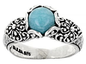 Amazonite Cabochon Silver Solitaire Ring