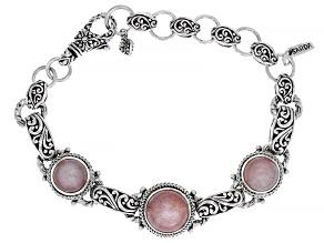 Peach Moonstone Cabochon Silver Bracelet