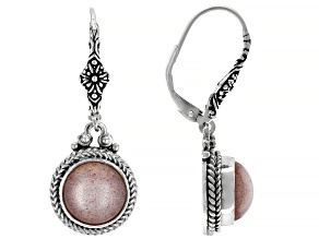 Peach Moonstone Silver Dangle Earrings