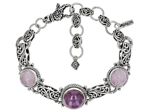 Ruby And Kunzite Silver Bracelet 15.60ctw