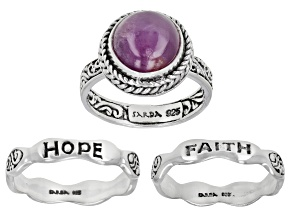 Ruby Silver Inspirational Ring Set of Three 5.50ctw