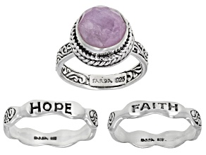 Kunzite Silver Inspirational Ring Set of Three 3.54ctw