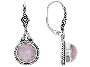 Kunzite Silver Dangle Earrings 7.08ctw