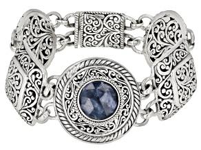 Black Onyx Triplet Silver Bracelet