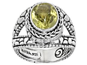 Lemon Citrine Silver Solitaire Ring 2.52ctw