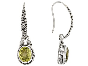 Lemon Citrine Silver Dangle Earrings 3.92ctw