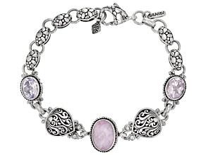 Kunzite And Lavender Moon Quartz Silver Bracelet 10.15ctw