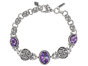 Blue Jay Jazz™ Quartz And Amethyst Silver Bracelet 8.57ctw