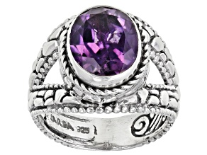 Amethyst Silver Solitaire Ring 2.82ctw