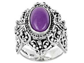 Artisan Collection Of Bali™ 12x8mm Oval Phosphosiderite Cabochon Silver Solitaire Ring