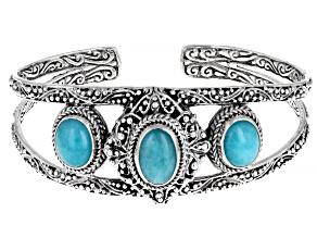 Amazonite Cabochon Silver Cuff Bracelet