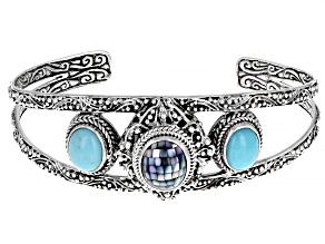 Mosaic Grey Mother Of Pearl And Turquoise Silver Cuff Bracelet