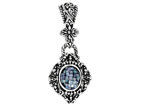 Grey Mother Of Pearl Silver Pendant