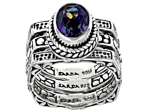 Blue Jay Jazz™ Quartz Silver Ring Set Of Three 1.54ctw